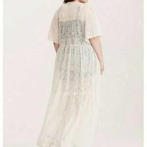 Torrid Insider Lace Embroidered Maxi Duster